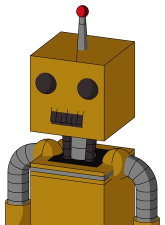 Portrait style Dark-Yellow Automaton With Box Head And Dark Tooth Mouth And Two Eyes And Single Led Antenna .