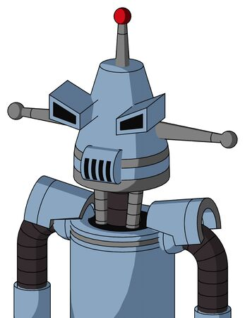 Portrait style Blue Robot With Cone Head And Speakers Mouth And Angry Eyes And Single Led Antenna . Stock Photo