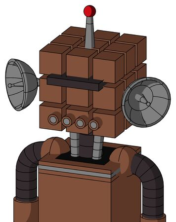 Portrait style Brown Mech With Cube Head And Pipes Mouth And Black Visor Cyclops And Single Led Antenna . Stock Photo