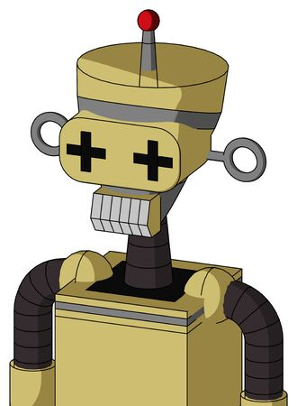 Portrait style Yellow Droid With Vase Head And Teeth Mouth And Plus Sign Eyes And Single Led Antenna . Stock Photo