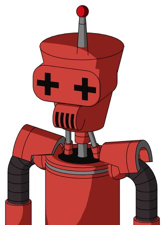 Portrait style Tomato-Red Droid With Cylinder-Conic Head And Speakers Mouth And Plus Sign Eyes And Single Led Antenna .