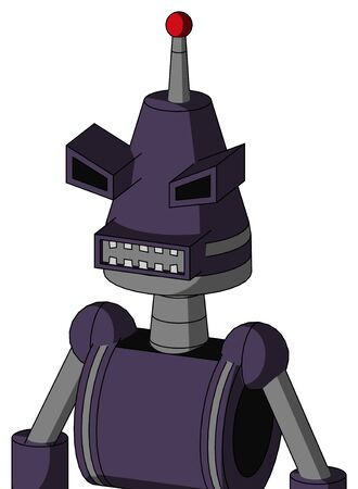 Portrait style Purple Mech With Cone Head And Square Mouth And Angry Eyes And Single Led Antenna . Stock Photo