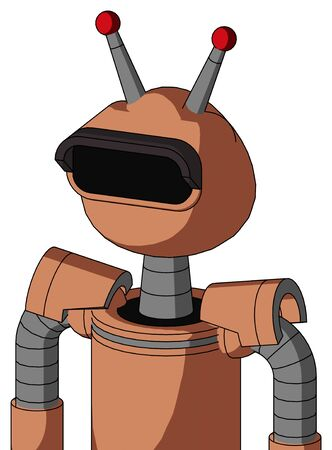 Portrait style Peach Robot With Rounded Head And Black Visor Eye And Double Led Antenna .