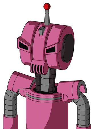 Portrait style Pink Robot With Multi-Toroid Head And Speakers Mouth And Angry Eyes And Single Led Antenna .