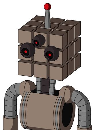 Portrait style Gray Robot With Cube Head And Three-Eyed And Single Led Antenna . Stock Photo