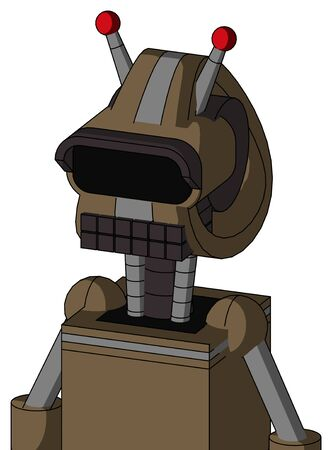 Portrait style Cardboard Mech With Droid Head And Keyboard Mouth And Black Visor Eye And Double Led Antenna . Stock Photo