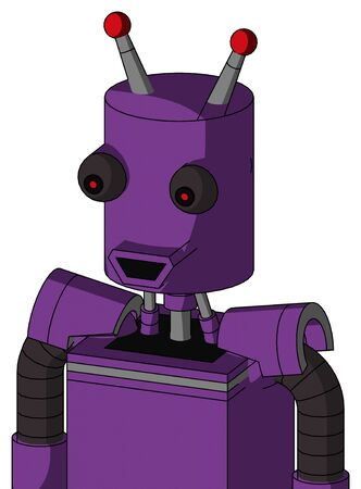 Portrait style Purple Automaton With Cylinder Head And Happy Mouth And Red Eyed And Double Led Antenna .