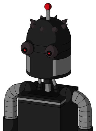 Portrait style Black Automaton With Dome Head And Red Eyed And Single Led Antenna . Stock Photo
