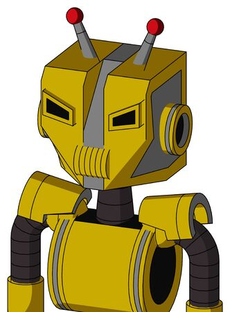 Portrait style Yellow Droid With Mechanical Head And Speakers Mouth And Angry Eyes And Double Led Antenna .