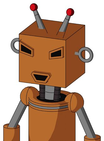 Portrait style Orange Robot With Box Head And Happy Mouth And Angry Eyes And Double Led Antenna . Stock Photo