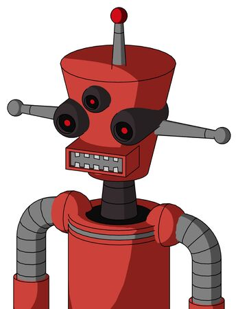 Portrait style Tomato-Red Droid With Cylinder-Conic Head And Square Mouth And Three-Eyed And Single Led Antenna . Stock Photo