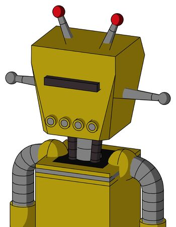 Portrait style Yellow Automaton With Box Head And Pipes Mouth And Black Visor Cyclops And Double Led Antenna .