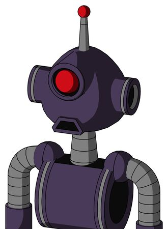 Portrait style Purple Mech With Rounded Head And Sad Mouth And Cyclops Eye And Single Led Antenna . Stock Photo