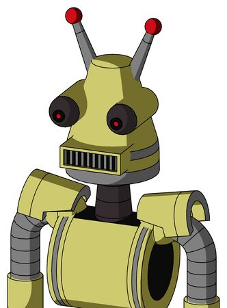 Portrait style Yellow Robot With Cone Head And Square Mouth And Red Eyed And Double Led Antenna .