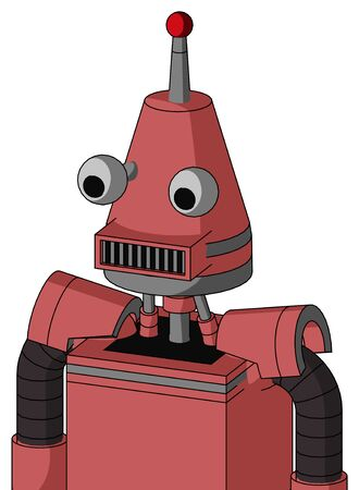 Portrait style Pinkish Mech With Cone Head And Square Mouth And Two Eyes And Single Led Antenna .