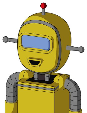 Portrait style Yellow Droid With Bubble Head And Happy Mouth And Large Blue Visor Eye And Single Led Antenna . Stock Photo