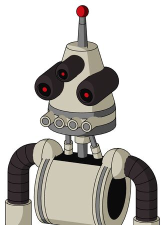 Portrait style Tan Mech With Cone Head And Pipes Mouth And Three-Eyed And Single Led Antenna .