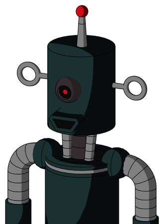 Portrait style Blue Droid With Cylinder Head And Happy Mouth And Black Cyclops Eye And Single Led Antenna . Stock Photo