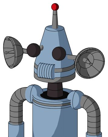 Portrait style Blue Robot With Cone Head And Speakers Mouth And Two Eyes And Single Led Antenna .