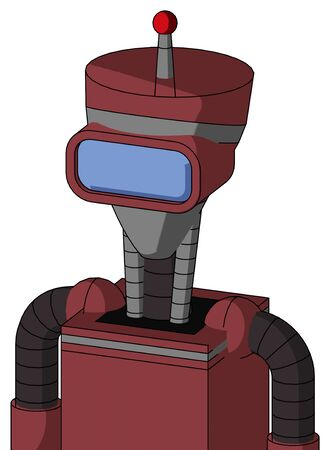 Portrait style Red Mech With Vase Head And Large Blue Visor Eye And Single Led Antenna . Stock Photo