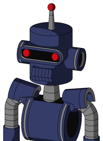 Portrait style Blue Droid With Cylinder Head And Toothy Mouth And Visor Eye And Single Led Antenna . Stock Photo