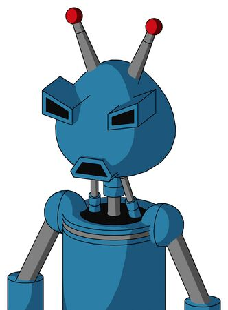 Portrait style Blue Automaton With Rounded Head And Sad Mouth And Angry Eyes And Double Led Antenna .