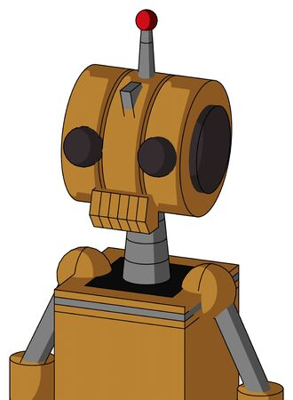 Portrait style Yellowish Droid With Multi-Toroid Head And Toothy Mouth And Two Eyes And Single Led Antenna . Stock Photo