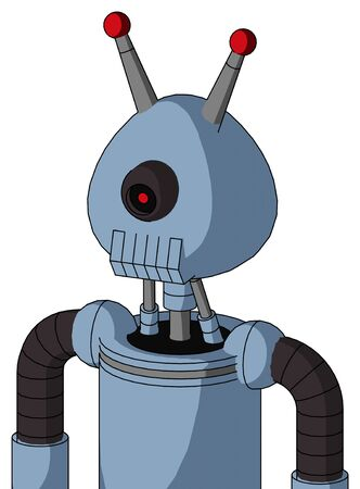 Portrait style Blue Robot With Rounded Head And Toothy Mouth And Black Cyclops Eye And Double Led Antenna .