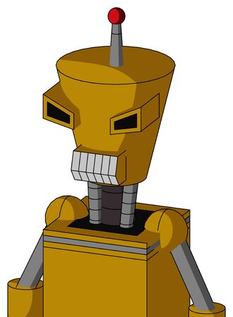 Portrait style Yellow Droid With Cylinder-Conic Head And Teeth Mouth And Angry Eyes And Single Led Antenna .