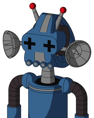 Portrait style Blue Robot With Droid Head And Pipes Mouth And Plus Sign Eyes And Double Led Antenna . Stock Photo