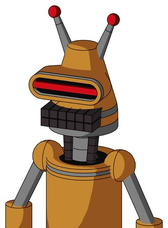 Portrait style Peach Droid With Cone Head And Keyboard Mouth And Visor Eye And Double Led Antenna .