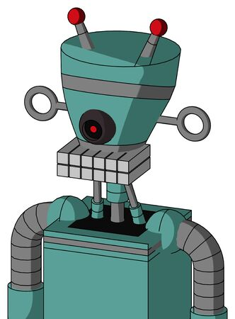 Portrait style Greenish Mech With Vase Head And Keyboard Mouth And Black Cyclops Eye And Double Led Antenna .