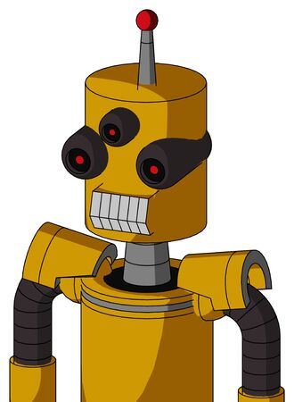 Portrait style Yellow Robot With Cylinder Head And Teeth Mouth And Three-Eyed And Single Led Antenna .