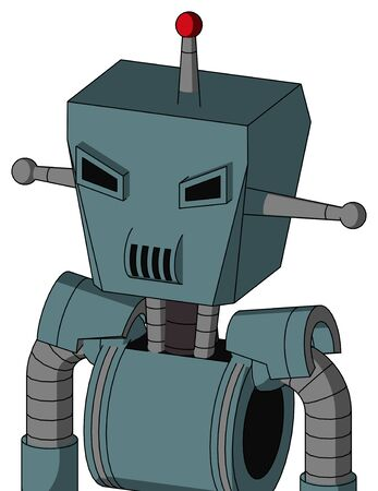Portrait style Blue Mech With Box Head And Speakers Mouth And Angry Eyes And Single Led Antenna .