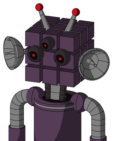 Portrait style Purple Mech With Cube Head And Three-Eyed And Double Led Antenna .
