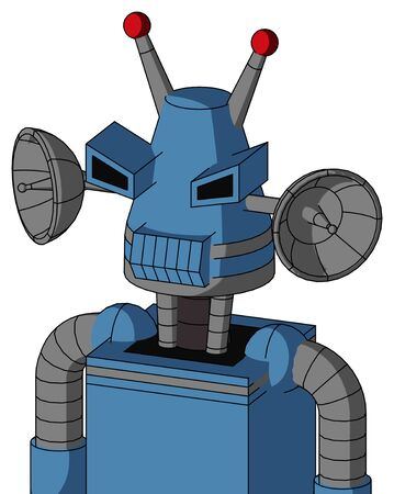 Portrait style Blue Robot With Cone Head And Toothy Mouth And Angry Eyes And Double Led Antenna .