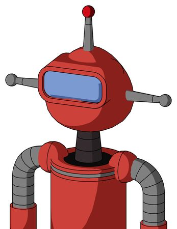 Portrait style Tomato-Red Droid With Rounded Head And Large Blue Visor Eye And Single Led Antenna . Stock Photo