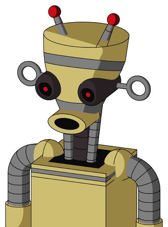 Portrait style Yellow Droid With Vase Head And Round Mouth And Black Glowing Red Eyes And Double Led Antenna .