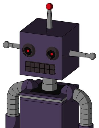 Portrait style Purple Mech With Box Head And Keyboard Mouth And Black Glowing Red Eyes And Single Led Antenna . Stock Photo