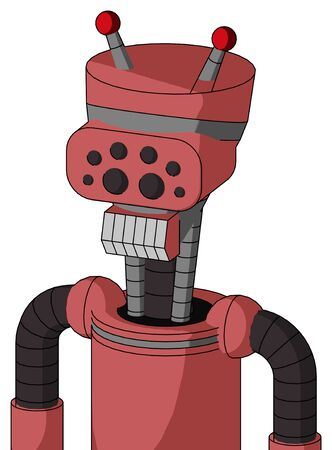 Portrait style Pinkish Mech With Vase Head And Teeth Mouth And Bug Eyes And Double Led Antenna .