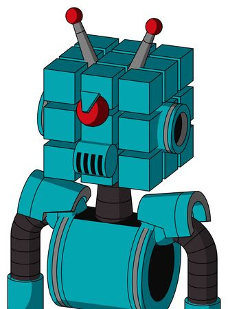 Portrait style Blue Robot With Cube Head And Speakers Mouth And Angry Cyclops And Double Led Antenna .