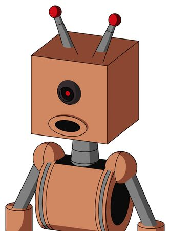 Portrait style Peach Robot With Box Head And Round Mouth And Black Cyclops Eye And Double Led Antenna . Stock Photo
