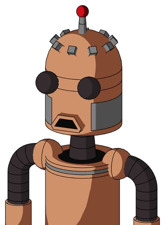Portrait style Peach Robot With Dome Head And Sad Mouth And Two Eyes And Single Led Antenna .