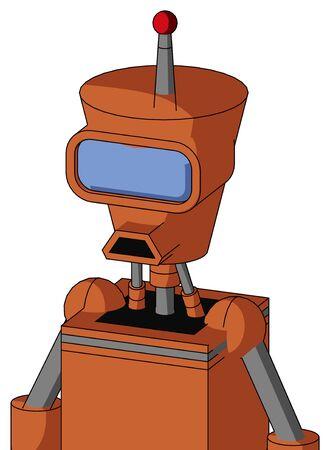 Portrait style Orange Mech With Cylinder-Conic Head And Sad Mouth And Large Blue Visor Eye And Single Led Antenna . Stock Photo