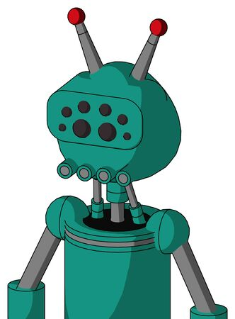 Portrait style Green Automaton With Rounded Head And Pipes Mouth And Bug Eyes And Double Led Antenna .