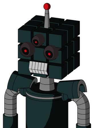 Portrait style Blue Droid With Cube Head And Teeth Mouth And Three-Eyed And Single Led Antenna . Stock Photo