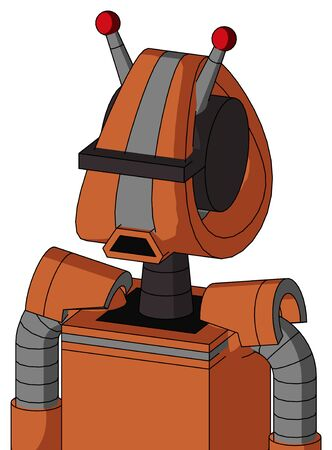 Portrait style Orange Mech With Droid Head And Sad Mouth And Black Visor Cyclops And Double Led Antenna . Stock Photo