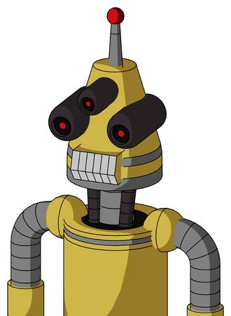 Portrait style Yellow Droid With Cone Head And Teeth Mouth And Three-Eyed And Single Led Antenna .