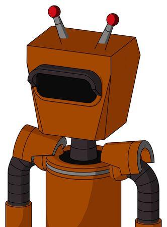 Portrait style Redish-Orange Mech With Box Head And Black Visor Eye And Double Led Antenna .