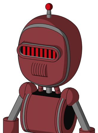 Portrait style Red Mech With Bubble Head And Speakers Mouth And Visor Eye And Single Led Antenna .